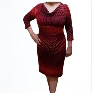 Anne Klein Drape Neck Knit Dress Size 12